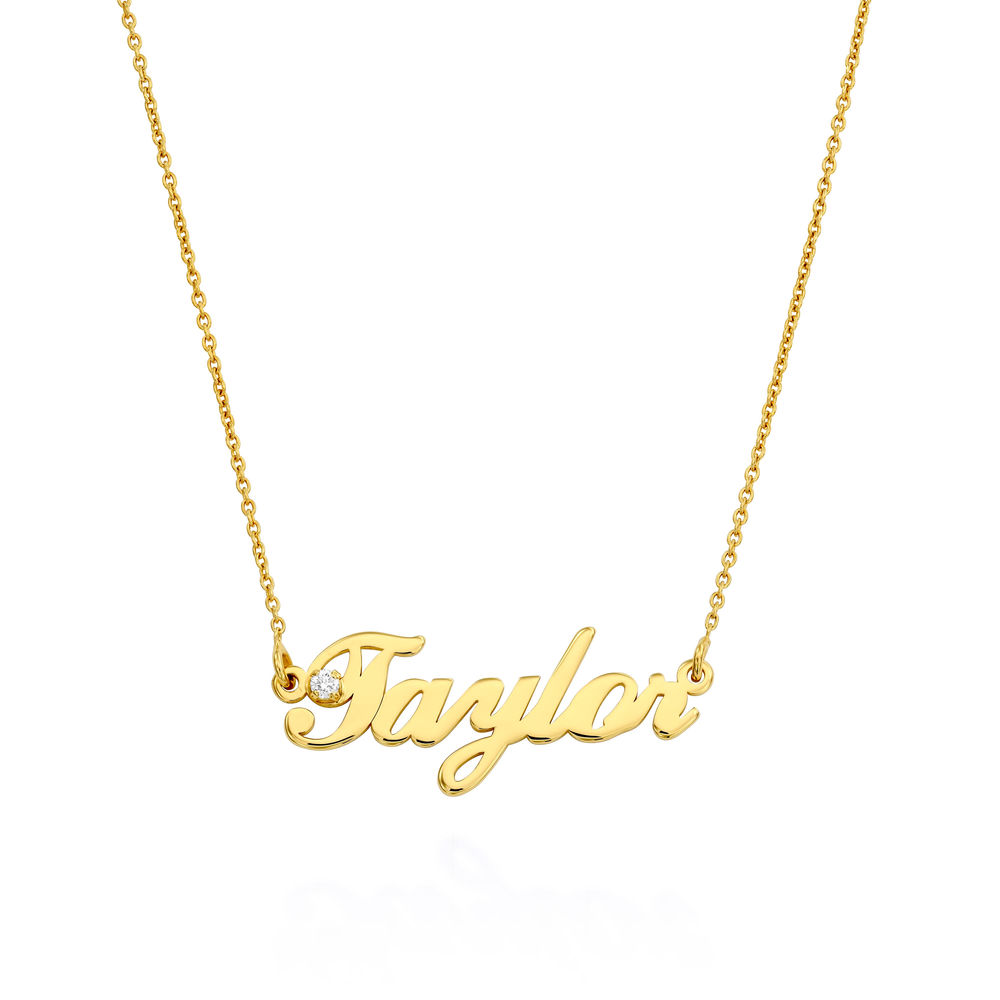 Small Classic Name Necklace with 5 Points Carats Diamond  in Gold Vermeil