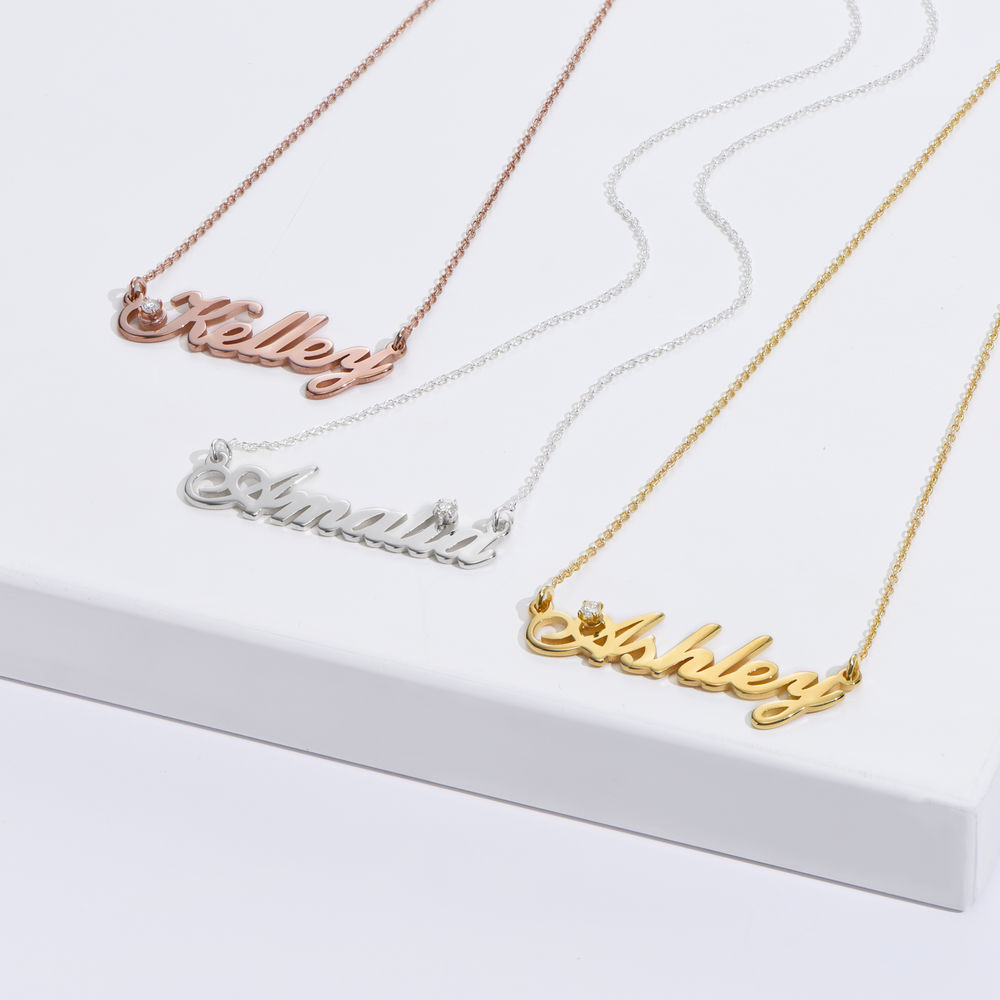Small Classic Name Necklace with 5 Points Carats Diamond  in Gold Vermeil - 1