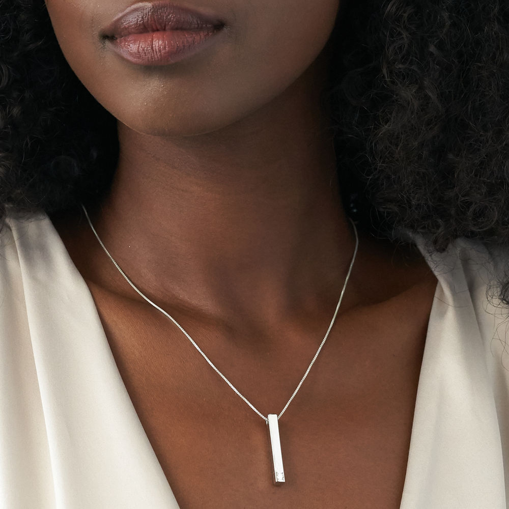 Vertical 3D Bar Necklace in Sterling Silver with 1-3 Lab Diamonds - 6