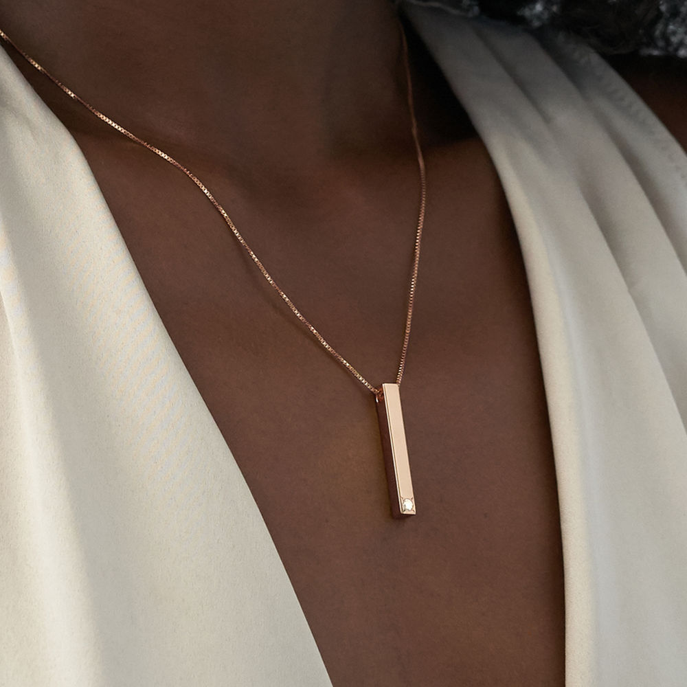 Vertical 3D Bar Necklace in Rose Gold with 1-3 Lab Diamonds - 3