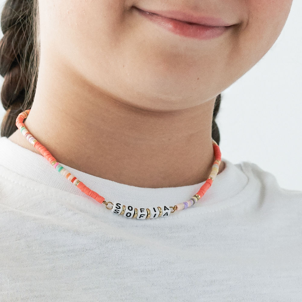 Coral Reef Kids Name Necklace in Gold Plating - 3