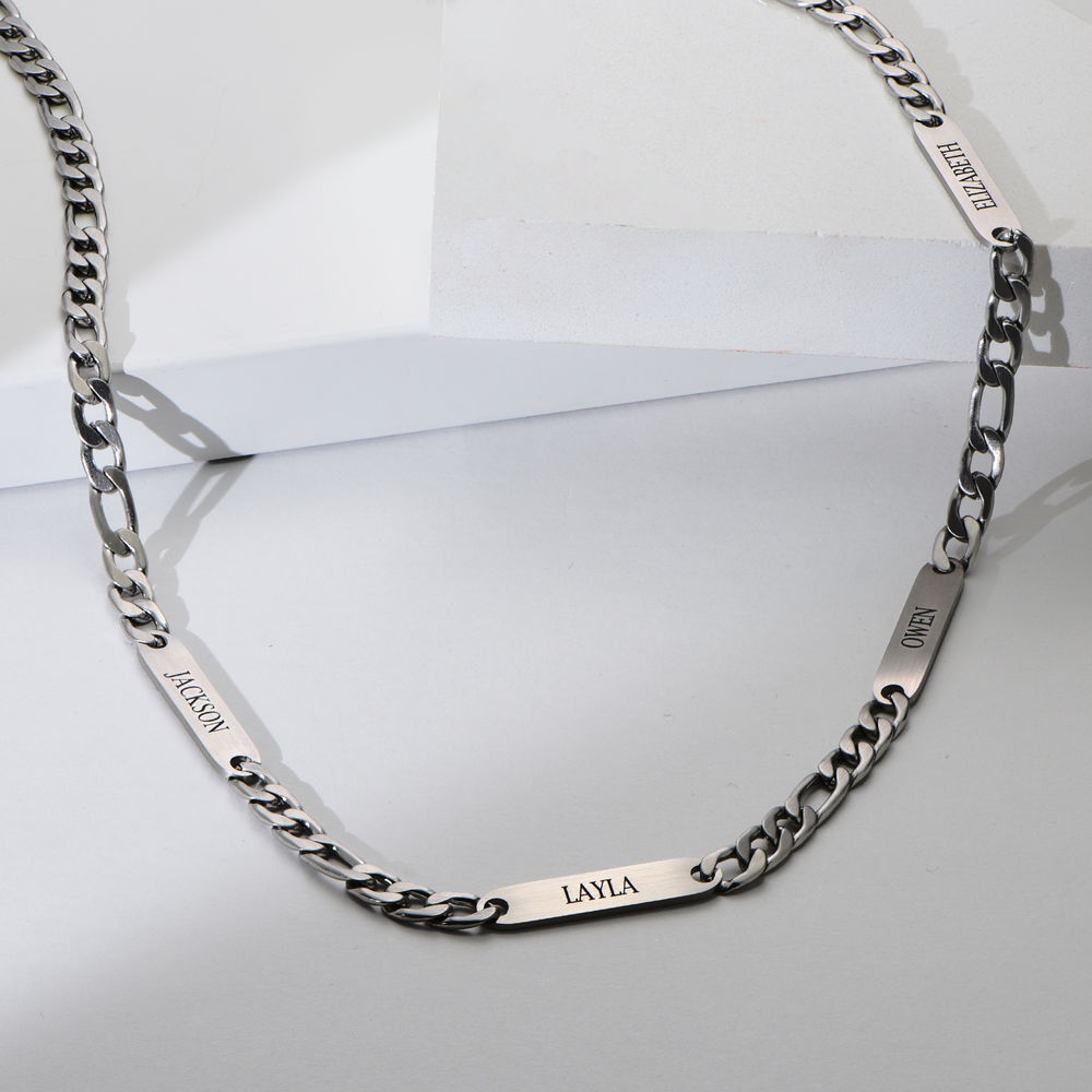Multiple Name Necklace for Men in Matte Stainless Steel - 2