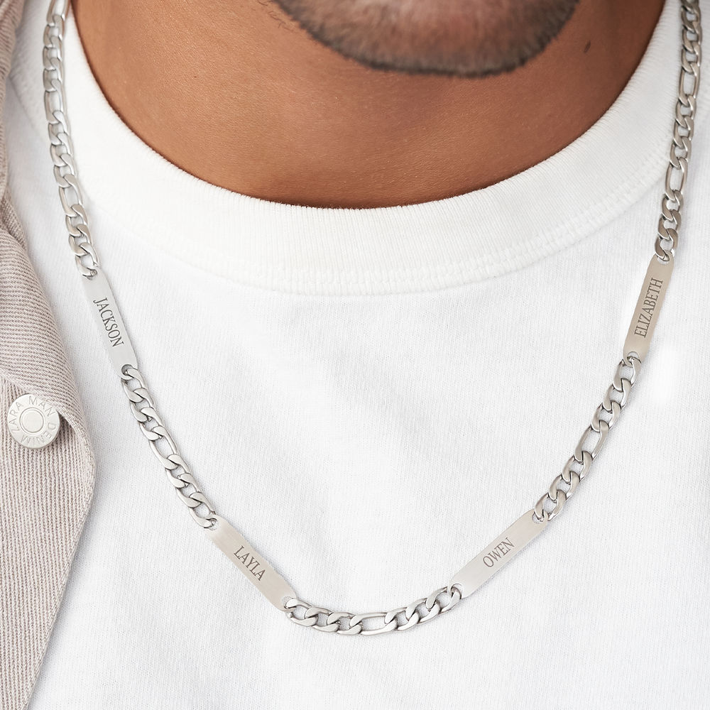 Multiple Name Necklace for Men in Matte Stainless Steel - 3