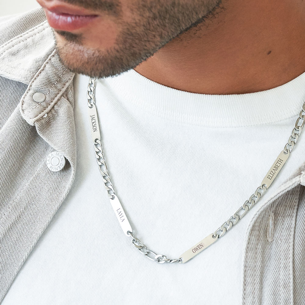 Multiple Name Necklace for Men in Matte Stainless Steel - 4