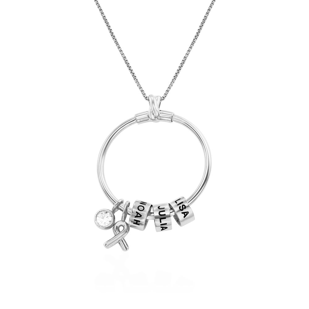 Linda Circle Pendant Necklace with Breast Cancer Awareness Ribbon in Sterling Silver