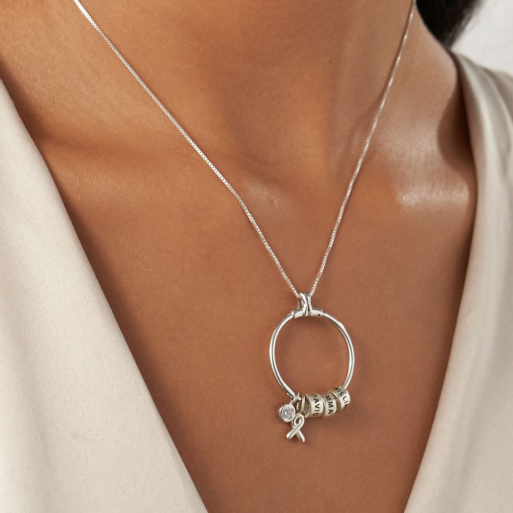 Linda Circle Pendant Necklace with Breast Cancer Awareness Ribbon in Sterling Silver - 3