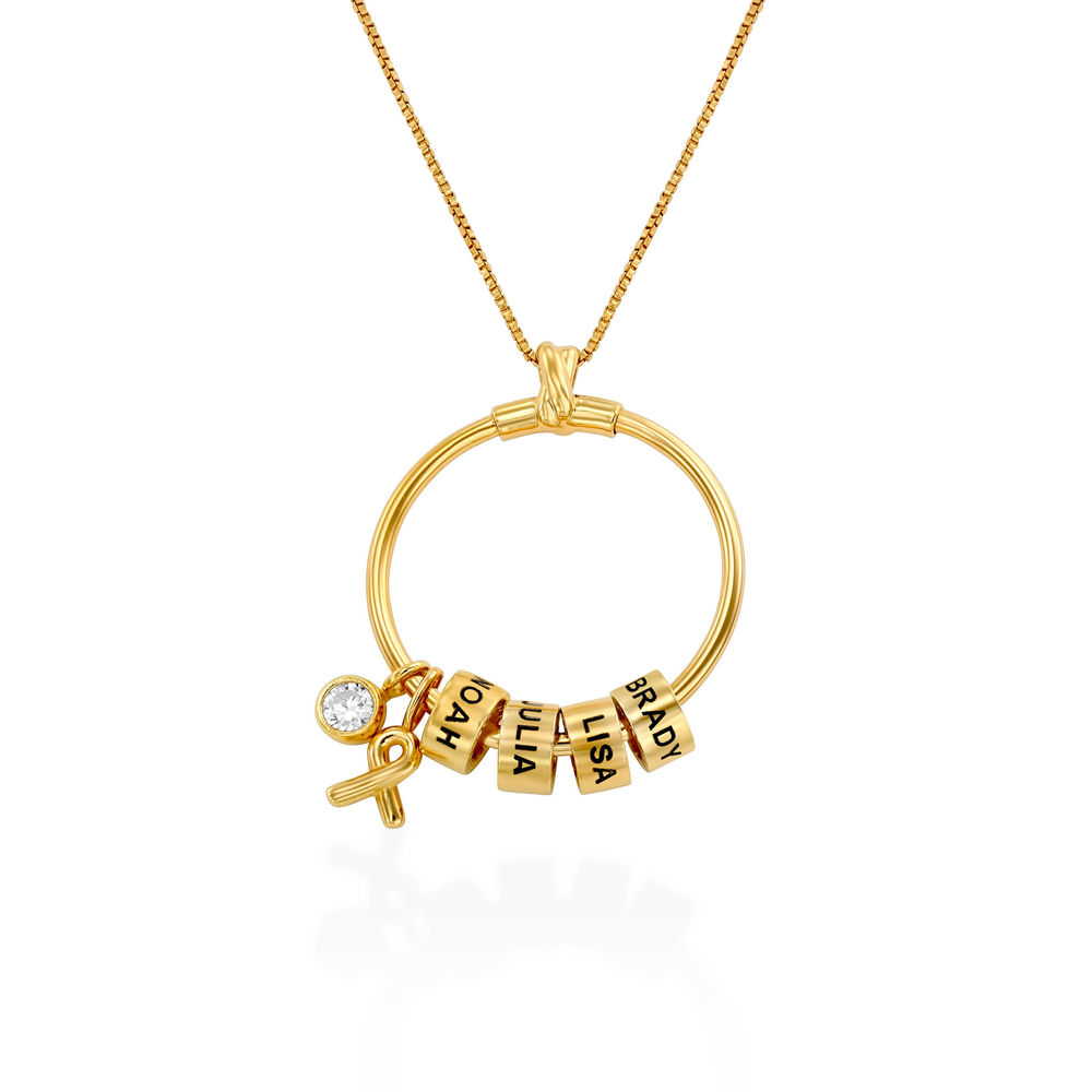 Linda Circle Pendant Necklace with Breast Cancer Awareness Ribbon in Gold Plating