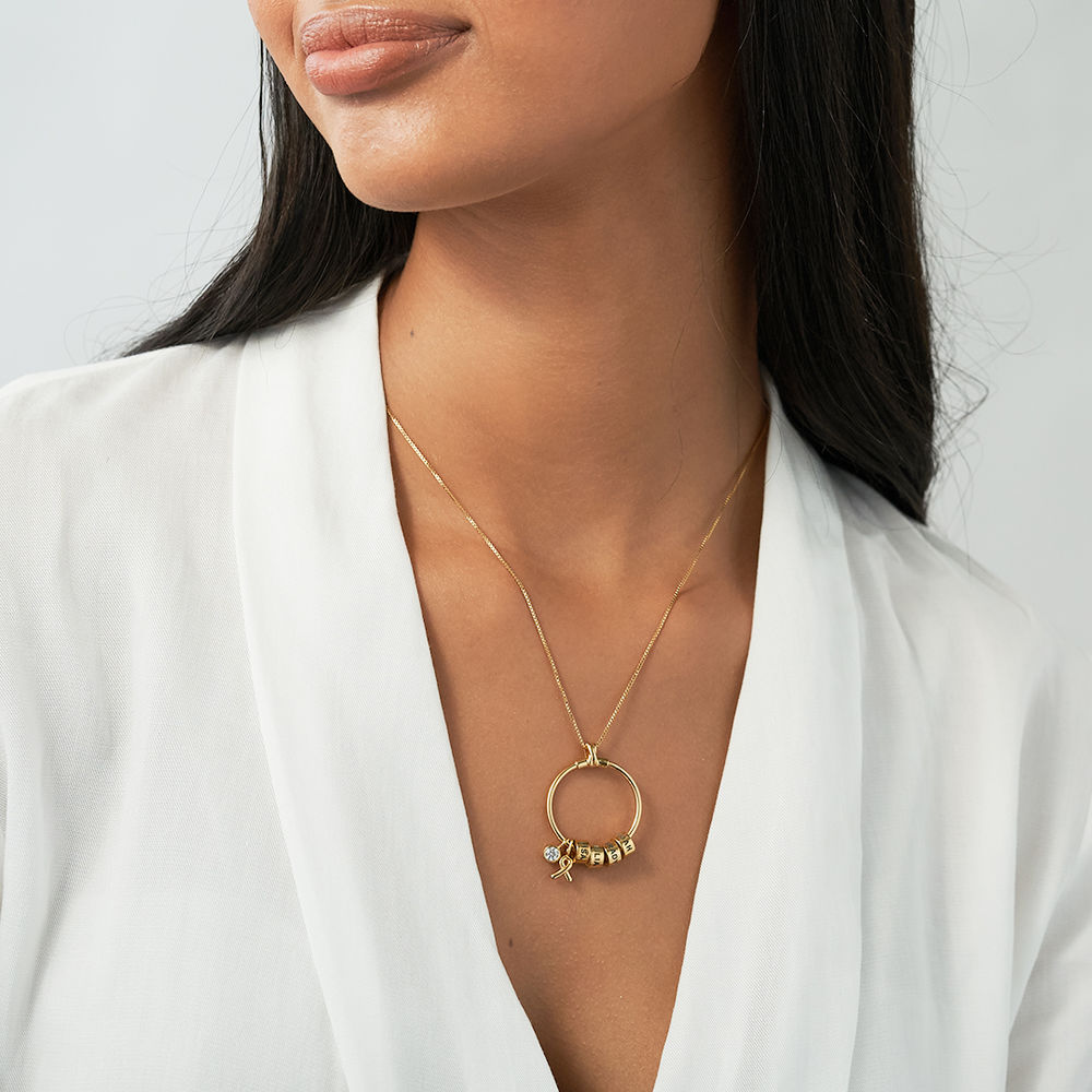 Linda Circle Pendant Necklace with Breast Cancer Awareness Ribbon in Gold Plating - 2