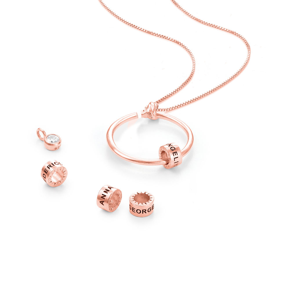 Linda Circle Pendant Necklace with Breast Cancer Awareness Ribbon in Rose Gold Plating - 1