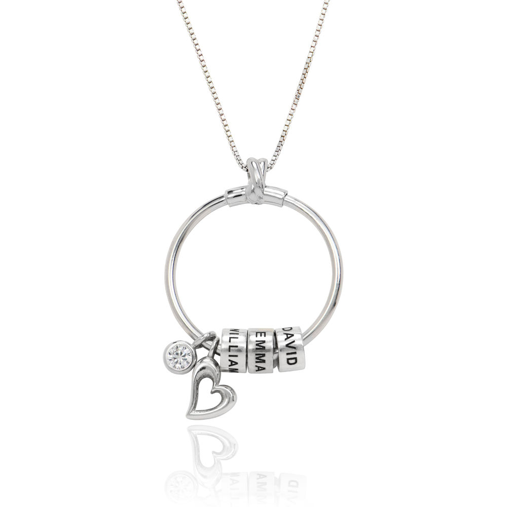 Linda Circle Pendant Necklace in Sterling Silver with 1/25 CT. T.W Lab – Created Diamond - 1