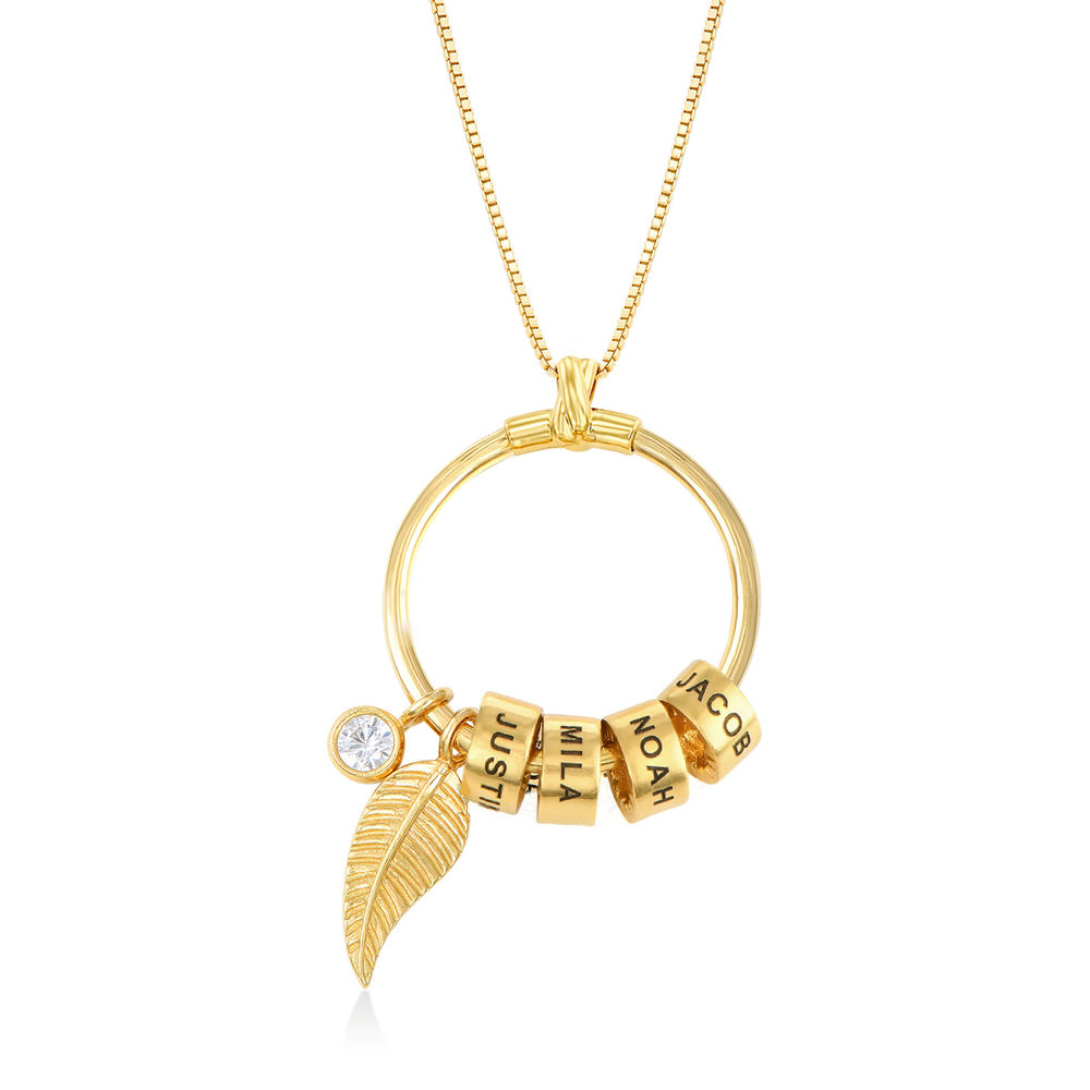 Linda Circle Pendant Necklace in Gold Plating with 1/25 CT. T.W Lab – Created Diamond