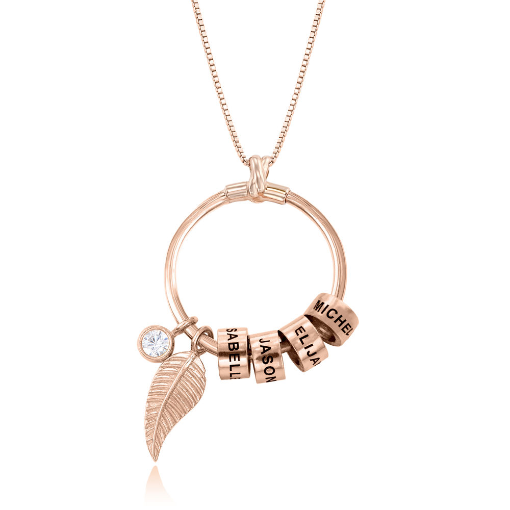 Linda Circle Pendant Necklace in Rose Gold Plating with 1/25 CT. T.W Lab – Created Diamond