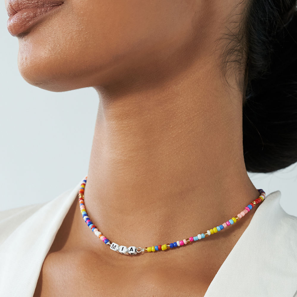Rainbow Remix Beaded Name Necklace in Sterling Silver - 3