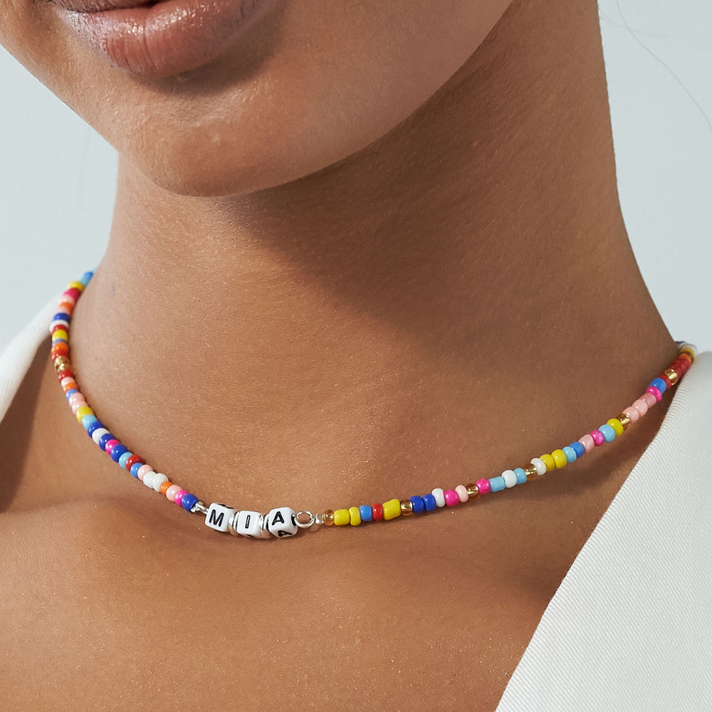 Rainbow Remix Beaded Name Necklace in Sterling Silver - 4