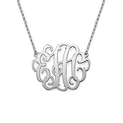 Large Monogram Necklace in Sterling Silver - 1