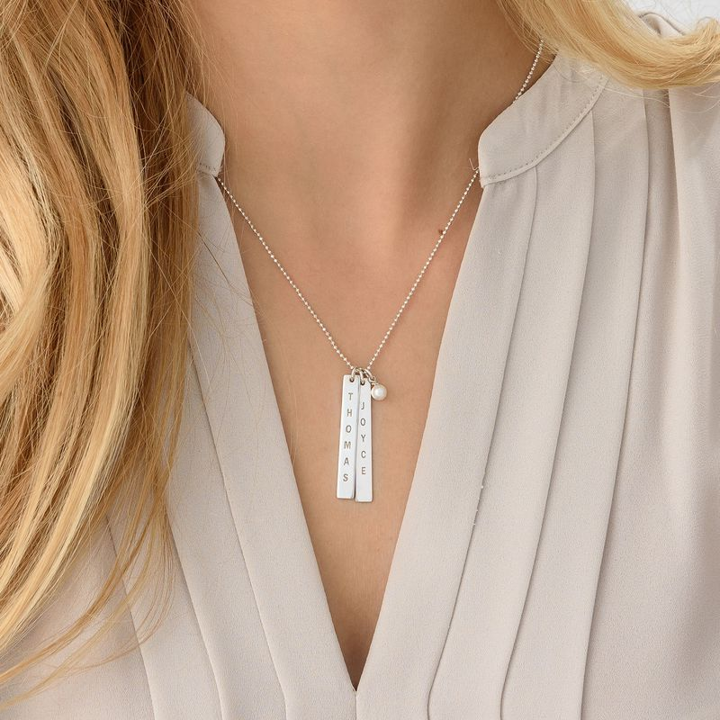 Engraved Vertical Bar Necklace in Sterling Silver - 3