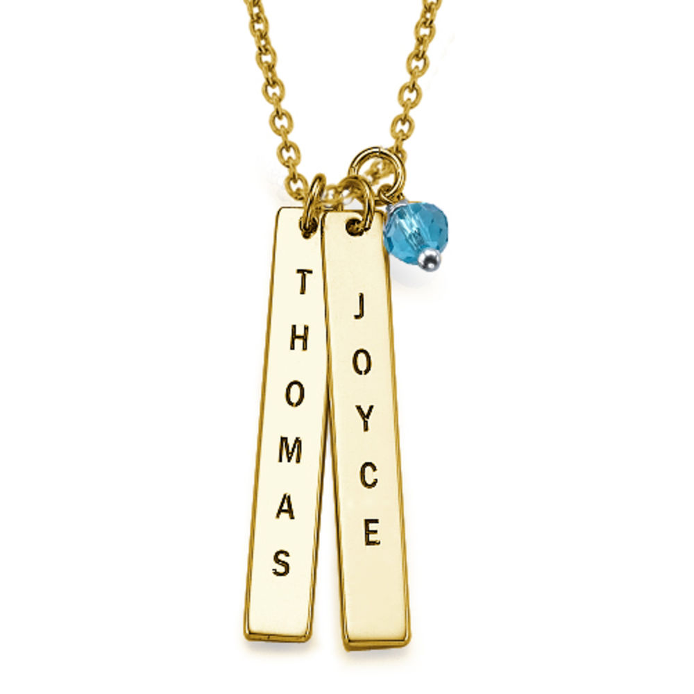 Engraved Vertical Bar Necklace with 18K Gold Plating - 1