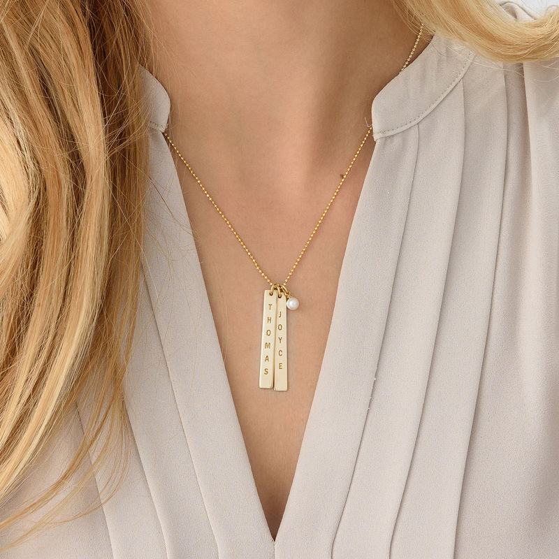 Engraved Vertical Bar Necklace with 18K Gold Plating - 3