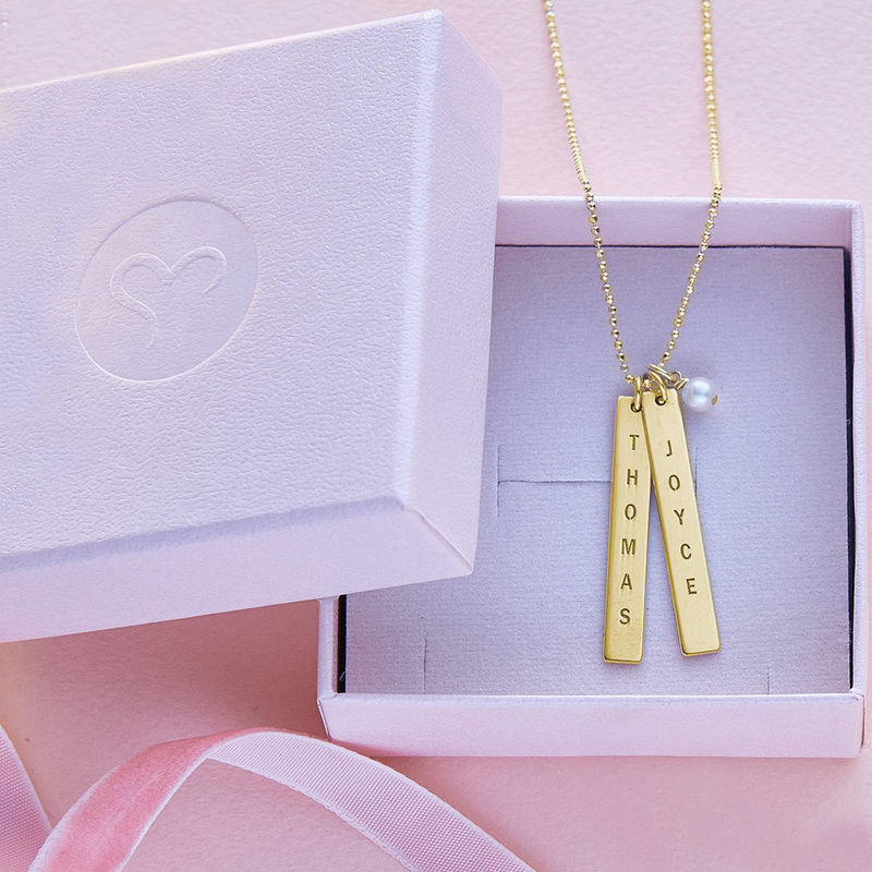 Engraved Vertical Bar Necklace with 18K Gold Plating - 4
