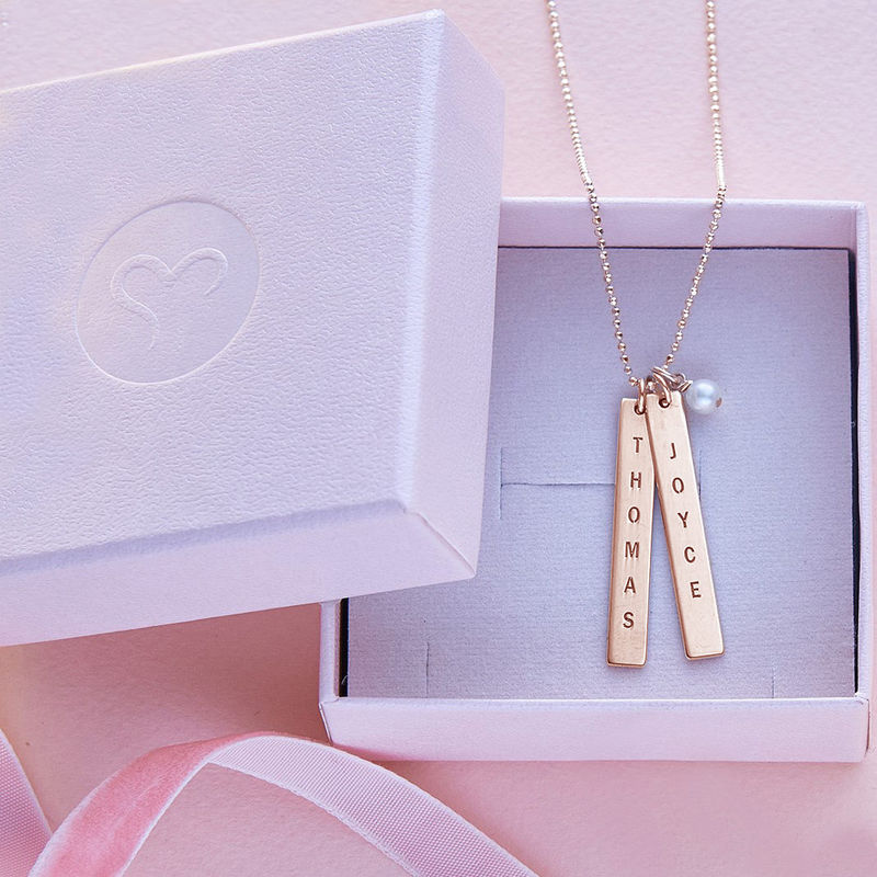 Engraved Name Tag Necklace with Freshwater Pearl - Rose Gold Plated - 4