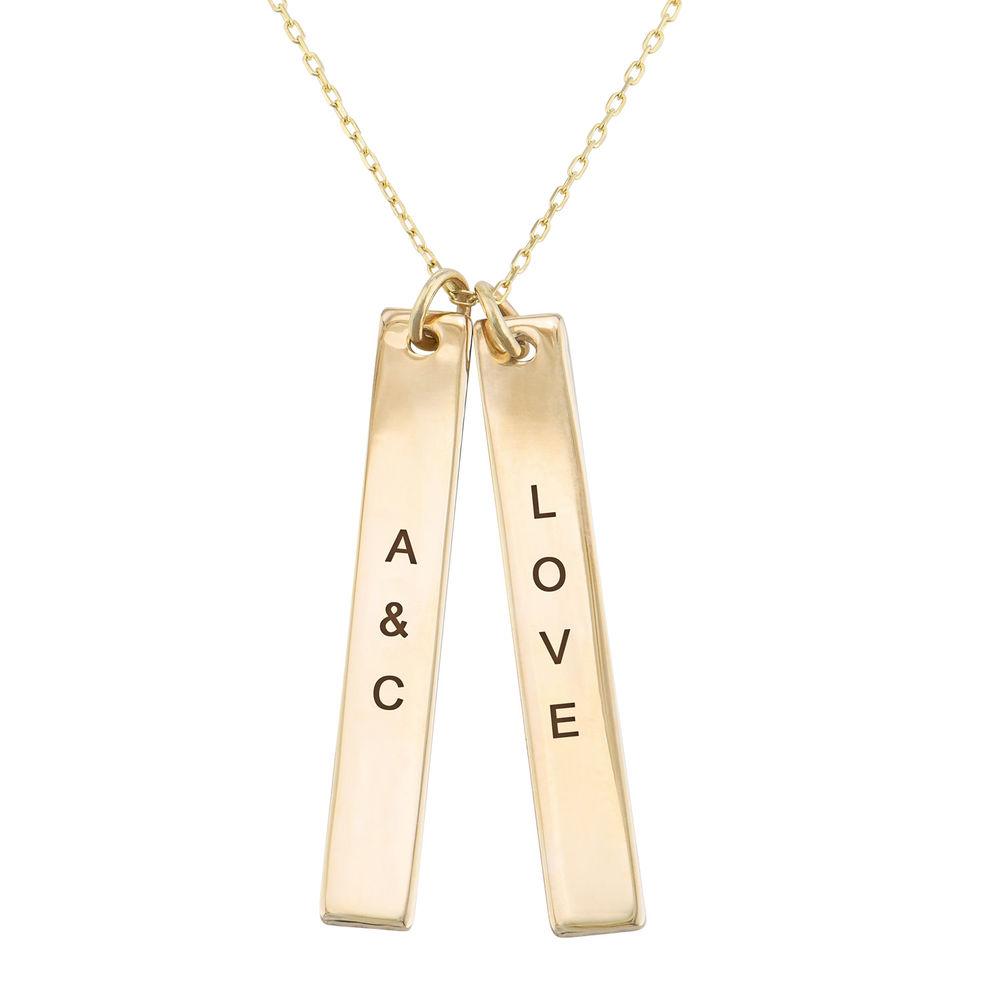 Engraved Vertical Bar Necklace in 10K Solid Gold - 1