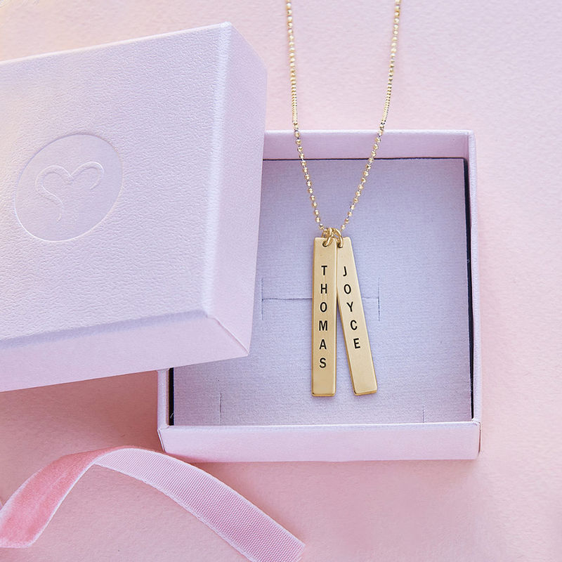 Engraved Vertical Bar Necklace in 10K Solid Gold - 4