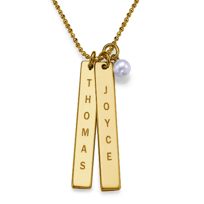 Gold Vermeil Bars of Love Necklace with a pearl
