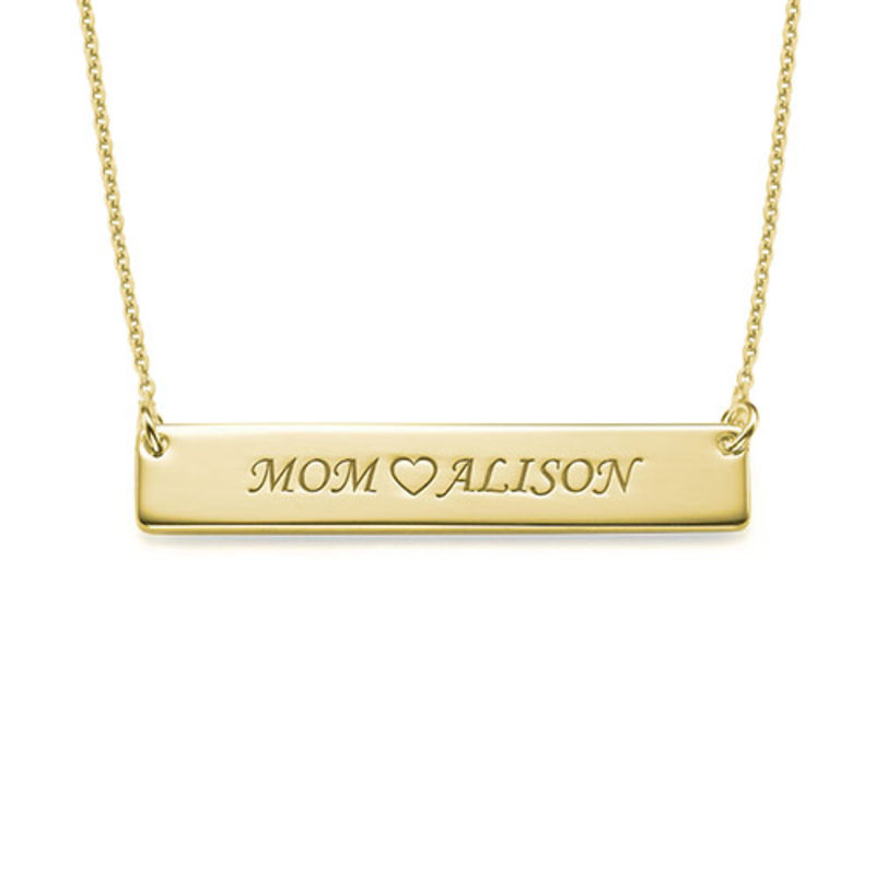 Personalized Nameplate Necklace for Mom - Gold Plated - 1