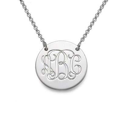 Silver Monogram Disc Necklace