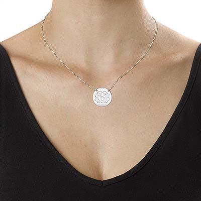 Silver Monogram Disc Necklace - 1