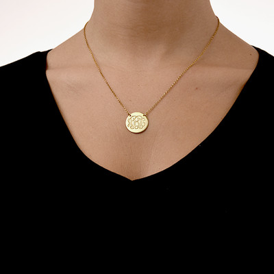 18k Gold Plated Monogram Disc Necklace - 1