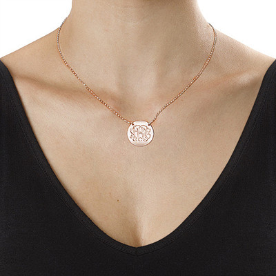 Rose Gold Plated Monogram Disc Necklace - 1