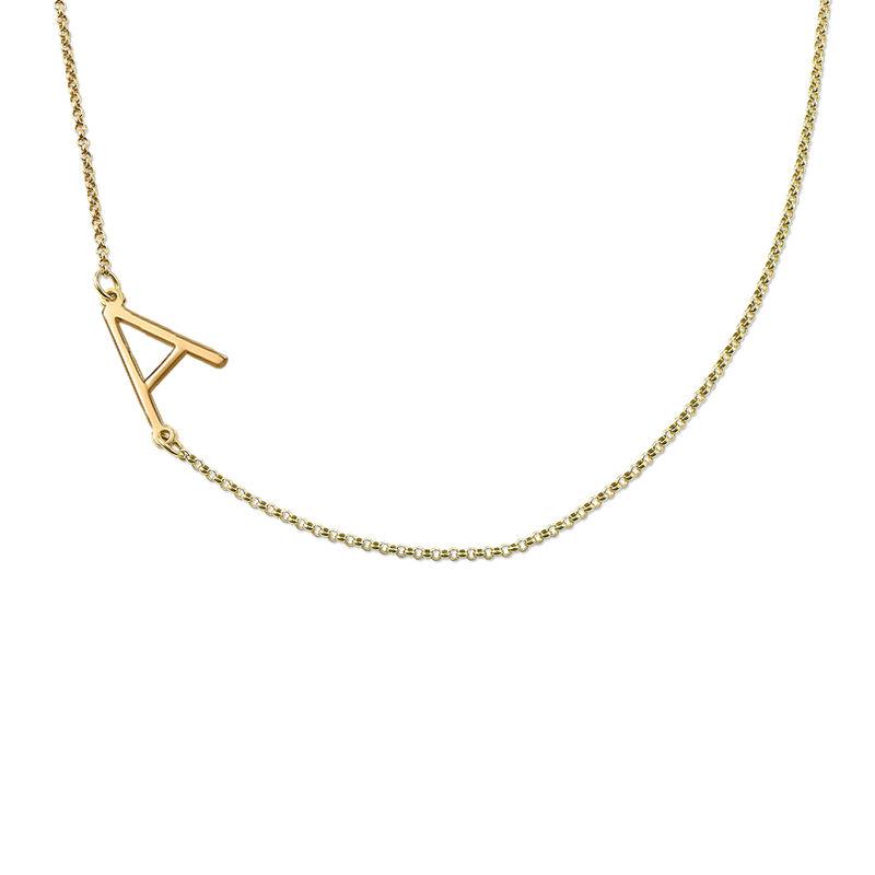 Sideways Initial Necklace in 18k Gold Vermeil