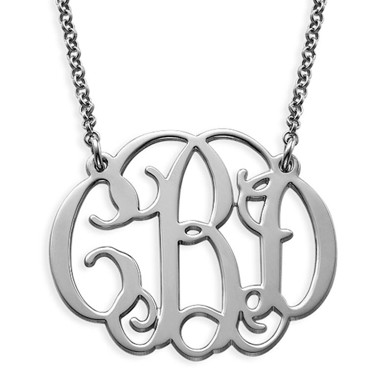 Celebrity Monogram Necklace in Sterling Silver