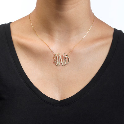 10k Gold Celebrity Monogram Necklace - 1