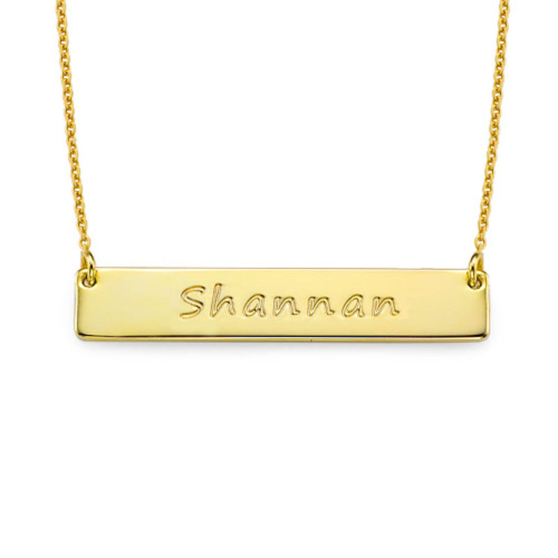 Personalized Bar Necklace in 18k Gold Plated