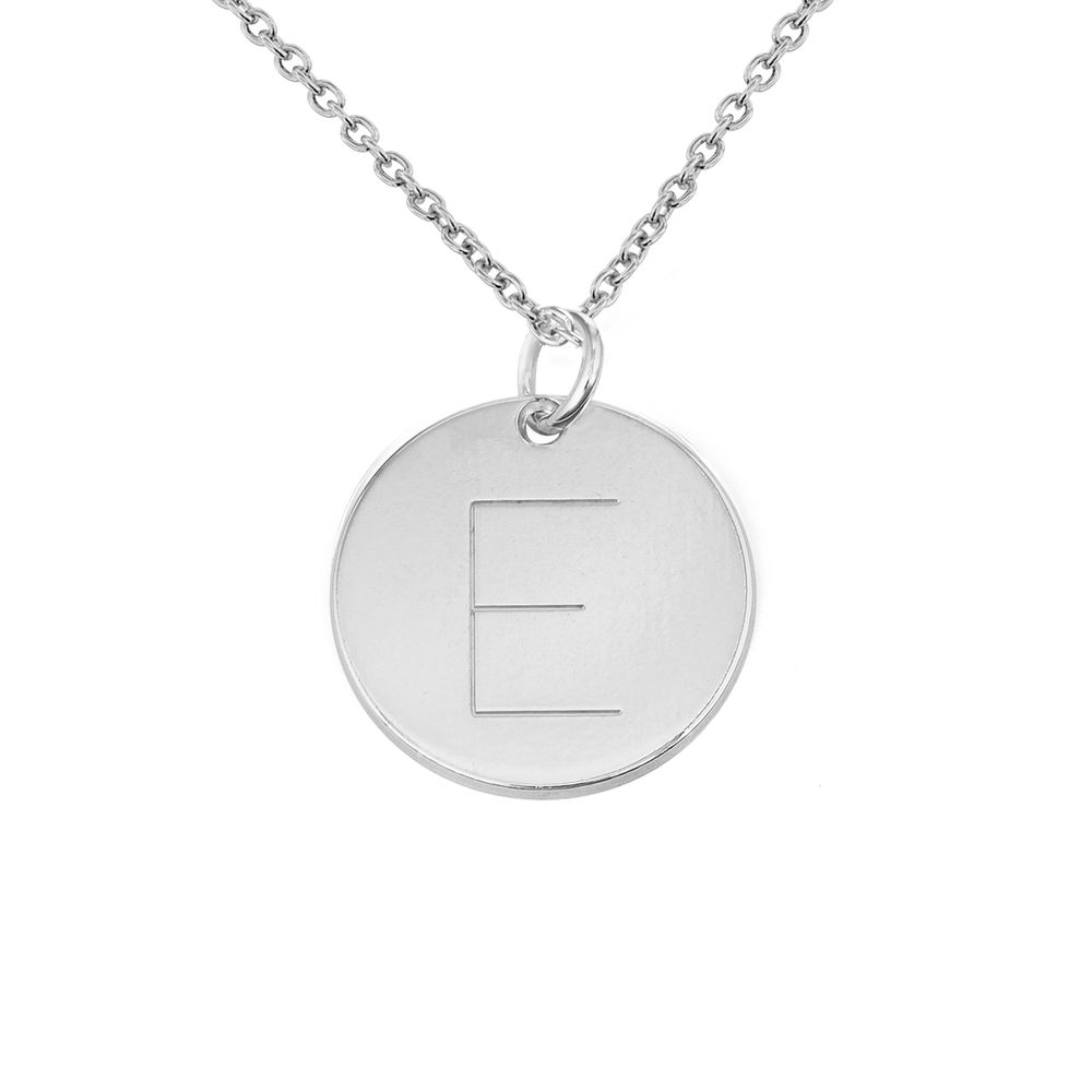 Initial Disk Necklace in Sterling Silver