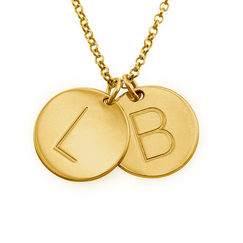 Gold Plated Charm Necklace with Initials