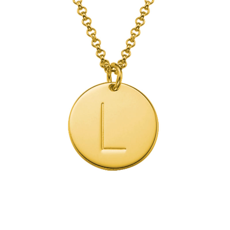 Gold Plated Charm Necklace with Initials - 1