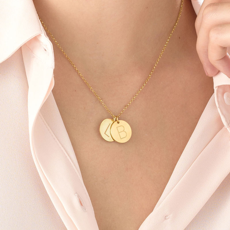 Gold Plated Charm Necklace with Initials - 3
