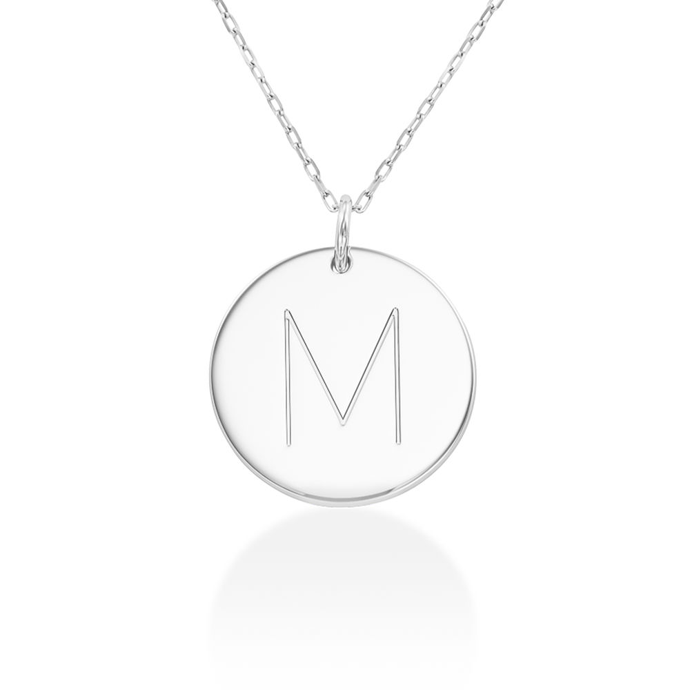 Initial Disk Necklace in 10k White Gold
