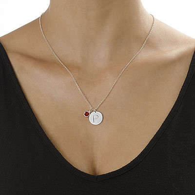 Initial Charm Pendant in Silver - 1