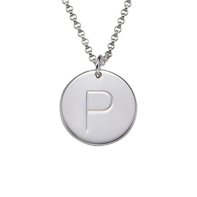 Initial Charm Pendant in Silver - 3