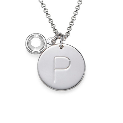 Initial Charm Pendant in Silver - 4