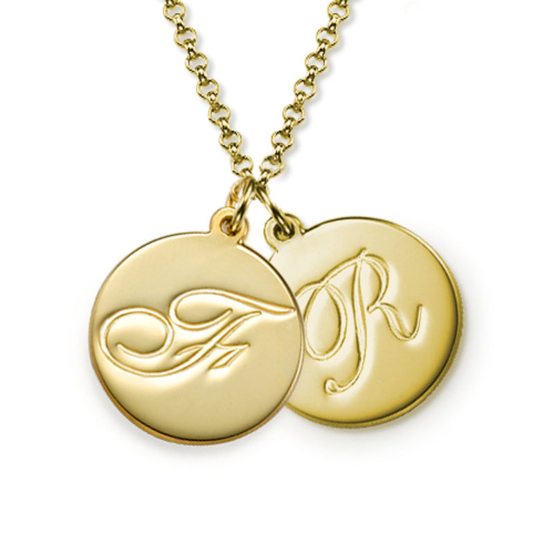 Script Initial Pendant Necklace in 18k Gold Plating - 1