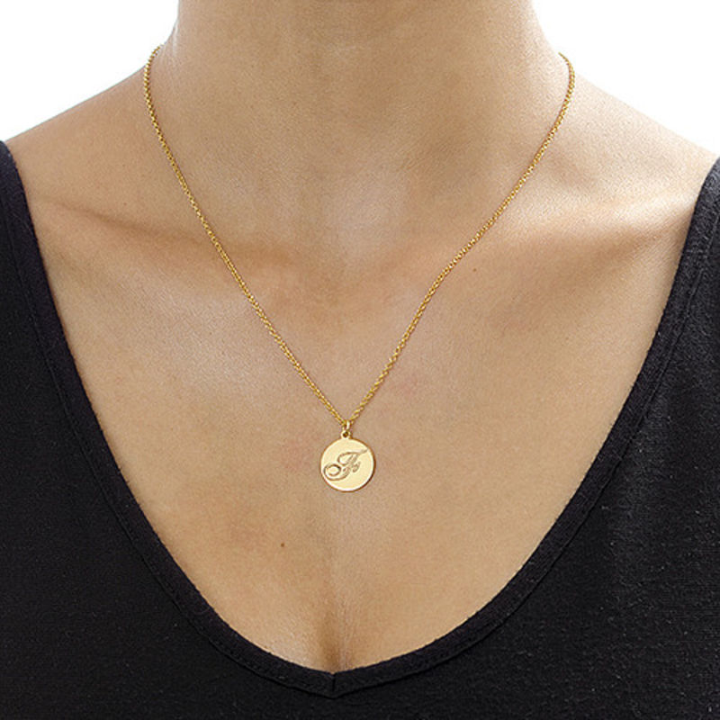 Script Initial Pendant Necklace in 18k Gold Plating - 2