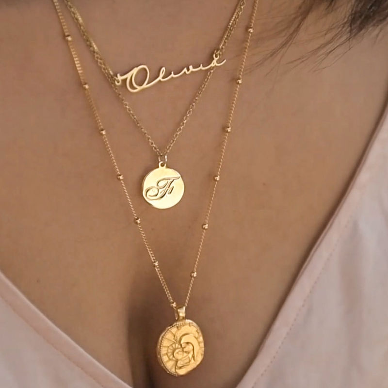 Script Initial Pendant Necklace in 18k Gold Plating - 3