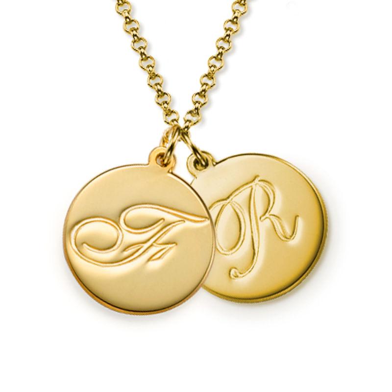 Script Initial Pendant Necklace in Gold Vermeil - 1