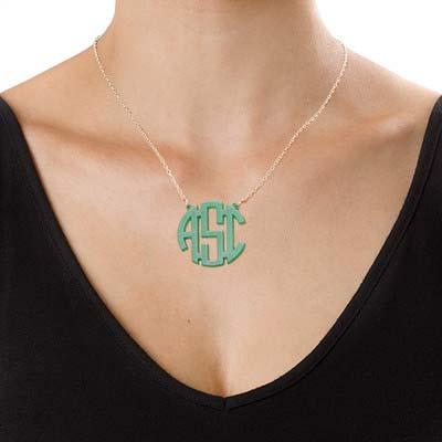 Colorful Acrylic Block Monogram Necklace - 1