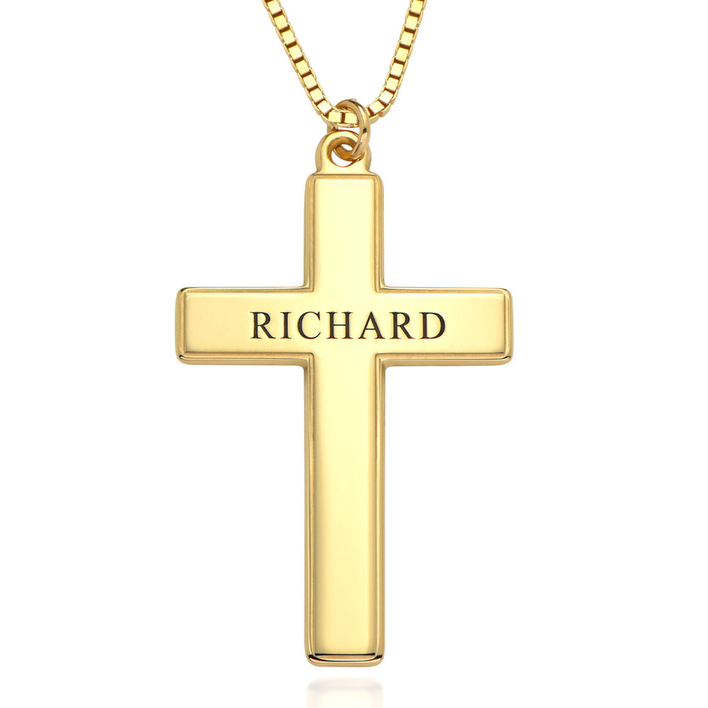 Men's Engraved Cross Necklace in 18k Gold Plating